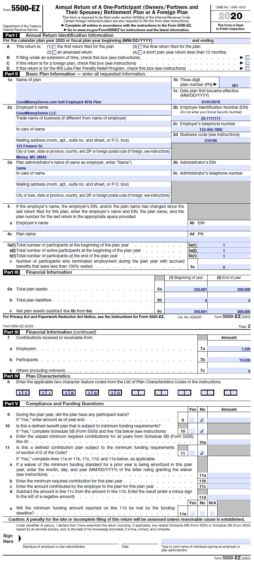 Good Money Sense Sample 2019 Form 5500EZ