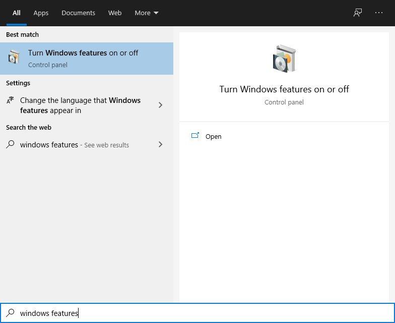 Windows Features On/Off