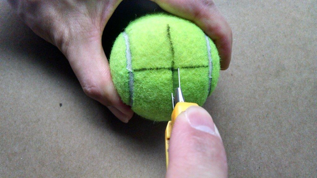 Cutting Tennis Ball