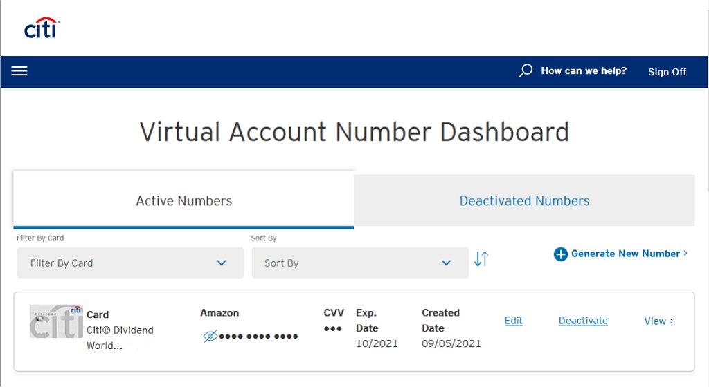 Citi Virtual Account Number Dashboard